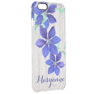 Custom Name Purple Clematis Flowers Clear iPhone 6 Plus Case