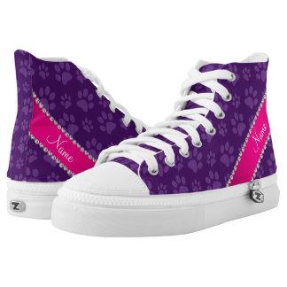 Custom name purple dog paw prints pink stripe printed shoes