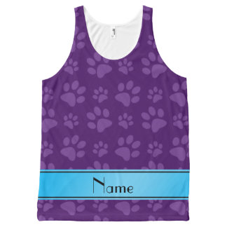 Custom name purple dog paws blue stripe All-Over print tank top