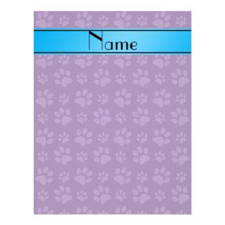 Custom name purple dog paws blue stripe flyer