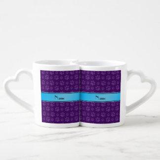 Custom name purple dog paws blue stripe couples mug