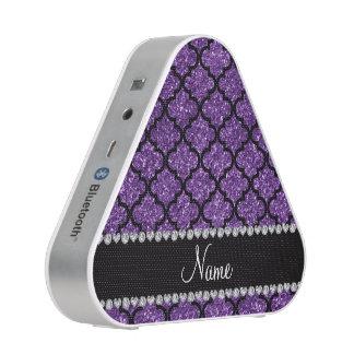 Custom name purple glitter moroccan speaker