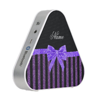 Custom name purple glitter stripes glitter bow