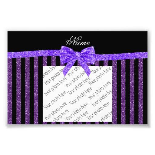 Custom name purple glitter stripes glitter bow photo