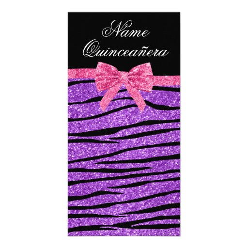 Custom name purple glitter zebra quinceañera photo cards