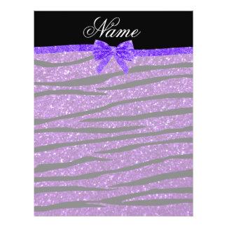 Custom name purple glitter zebra stripes bow personalized flyer