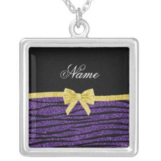 Custom name purple glitter zebra stripes gold bow pendants