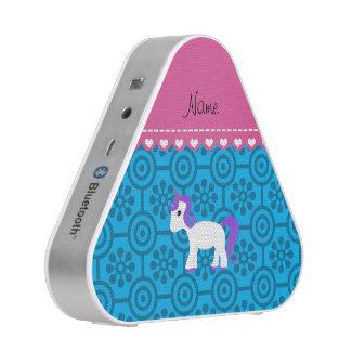 Custom name purple hair unicorn blue retro flowers speaker