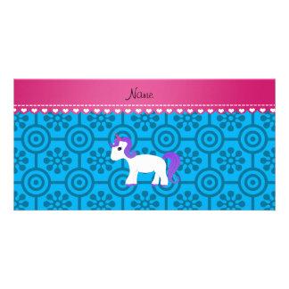 Custom name purple hair unicorn blue retro flowers photo greeting card