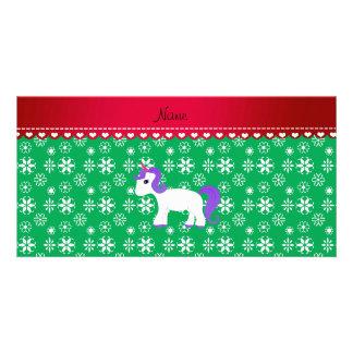 Custom name purple hair unicorn green snowflakes picture card