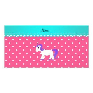 Custom name purple hair unicorn pink tiny dots photo cards