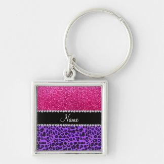 Custom name purple leopard neon hot pink glitter key chains