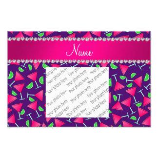 Custom name purple pink cosmos limes photographic print