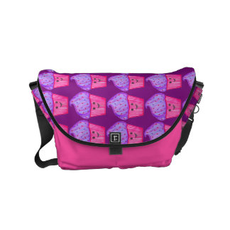 Custom Name Purple & Pink Cupcake Print Bag Commuter Bag