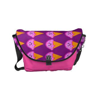 Custom Name Purple & Pink Ice Cream Print Bag Messenger Bags