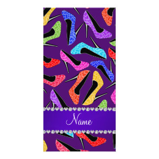 Custom name purple rainbow leopard high heels photo card