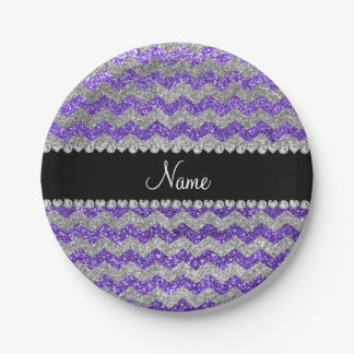 Custom name purple silver glitter chevrons 7 inch paper plate