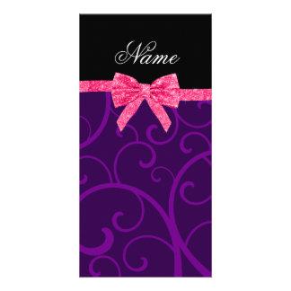 Custom name purple swirls pink glitter bow photo card template