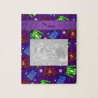 Custom name purple ugly christmas sweater pattern puzzles