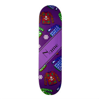 Custom name purple ugly christmas sweater pattern skateboards