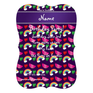 Custom name purple watermelons rainbows hearts personalized invitation