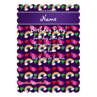 Custom name purple watermelons rainbows hearts custom invites