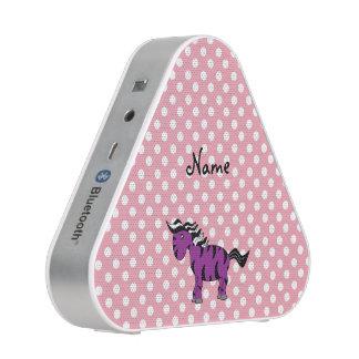 Custom name purple zebra pink white polkadots