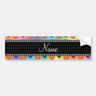 Custom name rainbow basketballs and hearts bumper sticker
