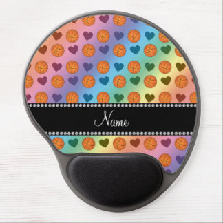 Custom name rainbow basketballs and hearts gel mousepads