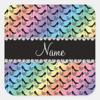 Custom name rainbow black high heels bow diamond square sticker