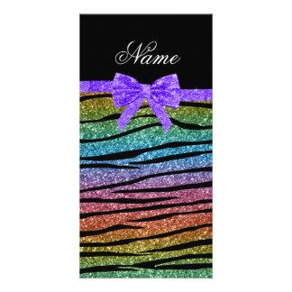 Custom name rainbow glitter zebra stripes bow personalized photo card