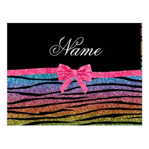 Custom name rainbow glitter zebra stripes bow postcard