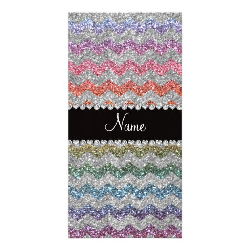 Custom name rainbow silver glitter chevrons customized photo card
