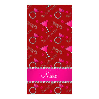 Custom name red bachelorette cocktails rings customised photo card