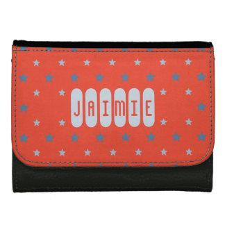 Custom name red blue stars kids wallet