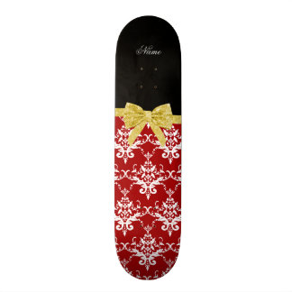 Custom name red damask gold glitter bow custom skate board