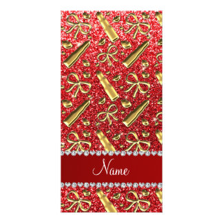 Custom name red glitter gold lipstick personalised photo card