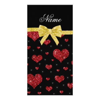 Custom name red glitter hearts gold bow personalized photo card