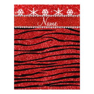 Custom name red glitter zebra snowflakes full color flyer