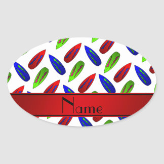 Custom name red green blue surfboards on white oval sticker