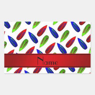 Custom name red green blue surfboards on white rectangular sticker
