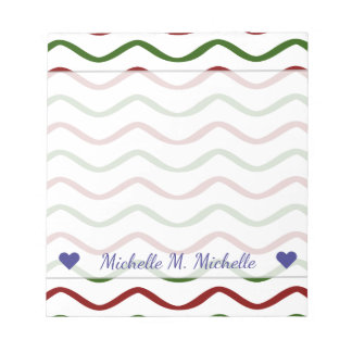 Custom Name + Red & Green Wavy Lines Pattern Notepad