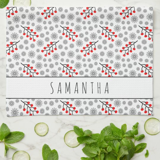 Custom Name Red Grey Scandinavian Floral Pattern Tea Towel