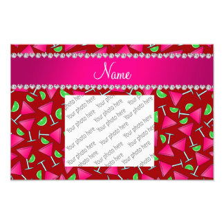 Custom name red pink cosmos limes photo art