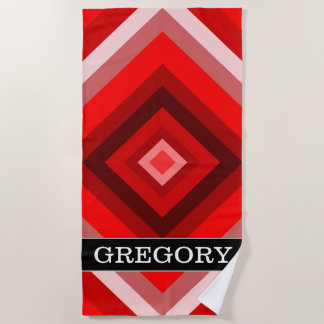 Custom Name + Red Shaded Squares Pattern Beach Towel
