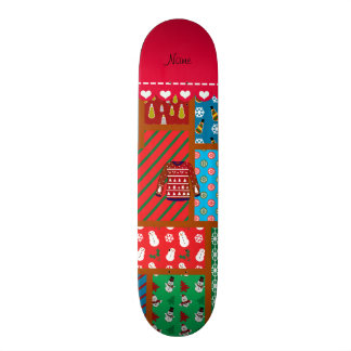 Custom name red snowman ugly christmas sweater skate boards