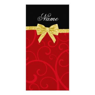 Custom name red swirls gold glitter bow personalized photo card