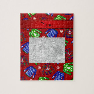 Custom name red ugly christmas sweater pattern jigsaw puzzles
