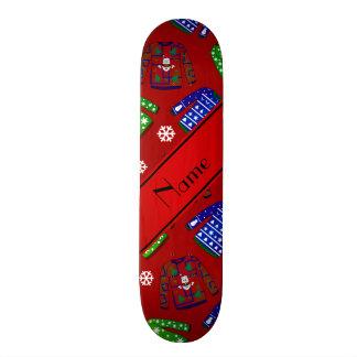 Custom name red ugly christmas sweater pattern 20.6 cm skateboard deck