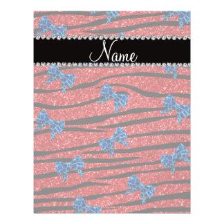 Custom name red zebra stripes blue bows full color flyer